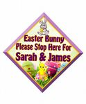 Personalised Easter Bunny Stop Here Window Sign